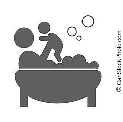 平ら, 取得, 親, pictogram, 隔離された, 浴室, 赤ん坊, 白, アイコン