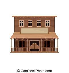 平ら, 古い, ポーチ, 木製である, 大きい, signboard., house., two-storey, ドア, ベクトル, 振動, ブランク, 大広間, アイコン