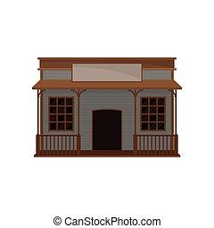 平ら, 古い, ポーチ, 木製の家, signboard., 小さい, 西, ベクトル, 建物。, 西部, ブランク, 野生, 木, saloon., アイコン