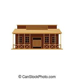 平ら, 古い, 振動, 木製である, signboard., house., theme., ベクトル, デザイン, 西部, ドア, ブランク, 大広間, 建築