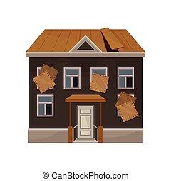 平ら, 古い, 捨てられた, 家, windows., の上, 屋根, 壊される, ベクトル, 私用, home., ファサド, 建物。, 乗り込まれた, アイコン