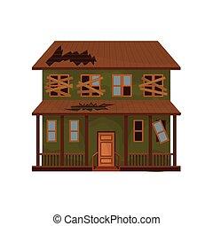 平ら, 古い, 捨てられた, 家, windows., 屋根, 破壊された, ベクトル, 緑, ファサド, boarded-up, cottage., 建物。, アイコン
