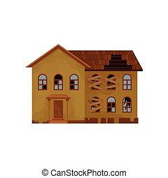 平ら, 古い, 捨てられた, 家, windows., two-storey, 屋根, theme., 壊される, ベクトル, 建築, boarded-up, 建物。, アイコン
