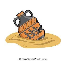 平ら, 古い, amphora, アンティークなイラスト, セラミック, ベクトル, 陶器, 隔離された, ギリシャ, bowl., 古代, 粘土, 白, 埋められる, 砂, バックグラウンド。, ギリシャ語