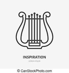 平ら, 古代, アウトライン, イラスト, 印, 道具, ベクトル, 薄くなりなさい, icon., リラ, 線, インスピレーシヨン, logo., ミュージカル, ハープ