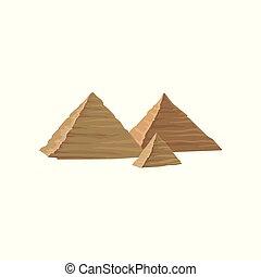平ら, 古代, エジプト人, モビール, 記念碑のようである, egypt., 有名, ゲーム, ベクトル, デザイン, 構造, pyramids., 要素, 風景