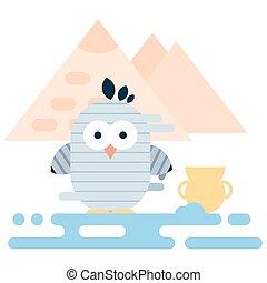 平ら, 古代, illustration., エジプト人, 現代, 特徴, mummy., 定型, ペンギン