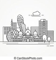 平ら, 合併した, 線である, emirates., イラスト, 1(人・つ), アラビア人, ベクトル, abu, 最新流行である, 線, style., dabhi