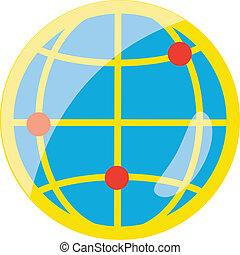 平ら, 地球, ベクトル, アイコン