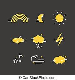 平ら, 天候, icons.