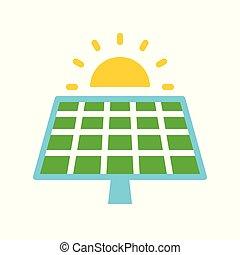 平ら, 太陽エネルギー, 細胞, 緑, 太陽, デザイン, パネル, アイコン