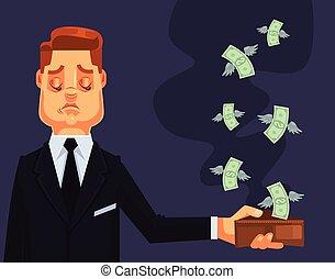 平ら, 失われた, 特徴, お金。, イラスト, ベクトル, ビジネスマン, 漫画