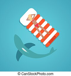 平ら, 女の子, なめされた, サメ