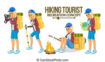 平ら, 女性ハイキング, 自然, 特徴, 冒険, イラスト, 隔離された, vacation., vector., 山。, 漫画