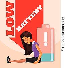平ら, 女性ビジネス, エネルギーはなし, battery., 特徴, イラスト, ベクトル, 漫画