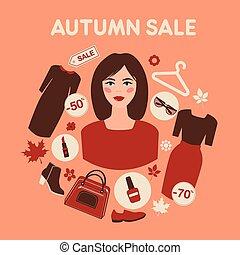 平ら, 女性買い物, セール, 秋, デザイン