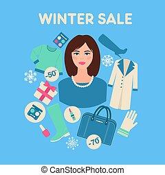 平ら, 女性買い物, 冬, セール, デザイン