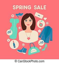 平ら, 女性買い物, 春, セール, デザイン