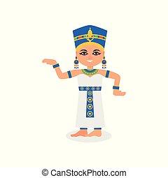 平ら, 女, エジプト人, 女王, ダンス, 特徴, egypt., 伝統的である, action., ベクトル, 女性, 古代, costume., 微笑, 漫画