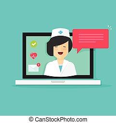 平ら, 女, リモート, 技術, イラスト, ラップトップ, ∥競う∥, telemedicine, 医者, 答え, 漫画, 医学, ベクトル, ビデオ, チャット, オンラインで, インターネット, 相談, メッセージ, オンラインで