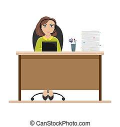 平ら, 女, 中心, headphones., ベクトル, 呼出し, employee., テーブル, illustration.