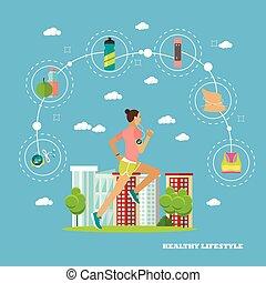 平ら, 女, 概念, イラスト, 動くこと, ベクトル, デザイン, icons., フィットネス, スポーツ, style., 要素