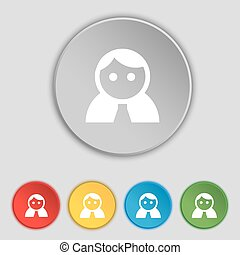 平ら, 女, buttons., 人間, 印。, 女性, ベクトル, 5, ログイン, ユーザー, 女性, シンボル, トイレ, アイコン
