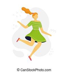 平ら, 女, design., 葉書, ダンス。, ありなさい, ∥あるいは∥, 招待, ウェブサイト, 漫画, 使われた, 缶, ads., 旗, 女の子, 美しい, ファッション, style., 跳躍