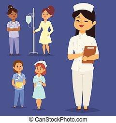 平ら, 女, illustration., 人々, 医者, 特徴, ベクトル, デザイン, チーム, 博士号, 病院, 看護婦, スタッフ