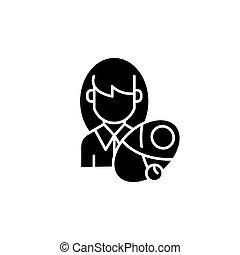 平ら, 女, illustration., 印, concept., シンボル, 新生, ベクトル, 黒, アイコン