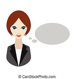 平ら, 女, speaking., ビジネス, illustration.