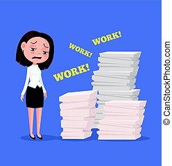 平ら, 女, work., オフィス, 疲れた, 働き者, 不幸, ベクトル, イラスト, character., 漫画