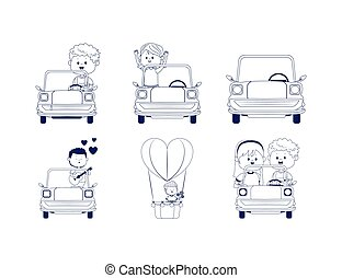 平ら, 子供, セット, クラシック, デザイン, カップル, 自動車, アイコン