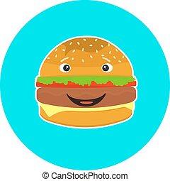 平ら, 子供, ハンバーガー, カラフルである, 特徴, 微笑