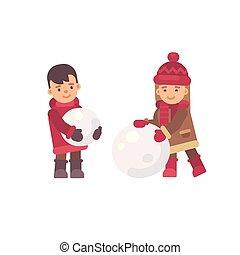 平ら, 子供, 2, イラスト, snowman., 作成, クリスマス