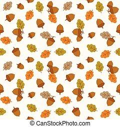 平ら, 季節, パターン, 葉, 感謝祭, seamless, 秋, デザイン, ドングリ