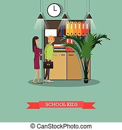 平ら, 学校の 子供, スタイル, イラスト, ベクトル, 特徴