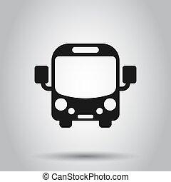 平ら, 学校, コーチ, ビジネス, バス, concept., 隔離された, イラスト, バックグラウンド。, ベクトル, autobus, style., 輸送, アイコン