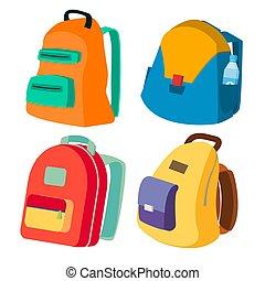 平ら, 学校, セット, 閉じられた, 現代, 隔離された, イラスト, schoolbag, vector., ビュー。, backpacks., バックパック, 側, 漫画, 有色人種