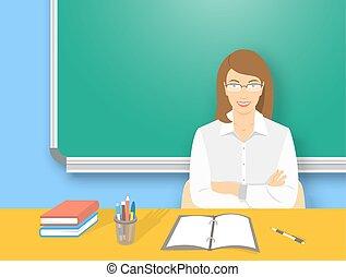 平ら, 学校, 女, イラスト, 机, 教育, 教師