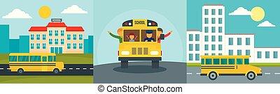 平ら, 学校, 概念, セット, バス, スタイル, 子供, 旗