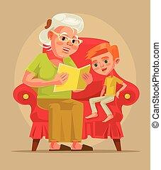 平ら, 孫, 座りなさい, 読まれた, 特徴, イラスト, story., 祖母, 本, ベクトル, 漫画