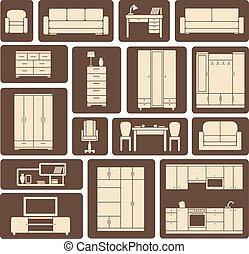 平ら, 家具, デザインを設定しなさい, アイコン