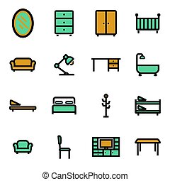 平ら, 家具, ベクトル, セット, アイコン