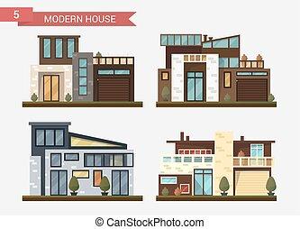 平ら, 家族, 現代, house., イラスト, 伝統的である, ベクトル, home.