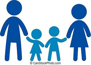 平ら, 家族, family., 印, ベクトル, ロゴ, icon.