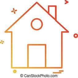 平ら, 家, ベクトル, デザイン, 家, アイコン