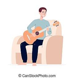平ら, 家, 弛緩, ギターの 演奏, 人, isolated., イラスト, ベクトル