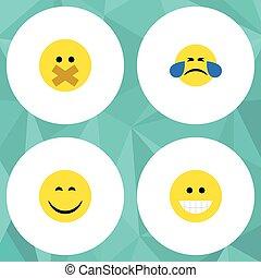 平ら, 寒い, セット, 汗, 無声, elements., にやにや笑い, 顔, 笑い, 顔, また, ベクトル, 微笑, objects., 含む, 他, アイコン