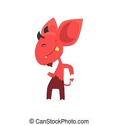 平ら, 小悪魔, ダンス, 彼の, tail., 提示, 特徴, 朗らかである, ベクトル, デザイン, 大きい, 悪魔, 角, tongue., 赤, 耳